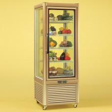 Tecfrigo Prisma 400QG: Cake Display Fridge in Gold Finish with Wire Shelves