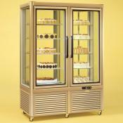 Tecfrigo Prisma 800RQG: Cake Display Fridge in Gold Finish with Wire Shelves and Rotating Glass Shelves