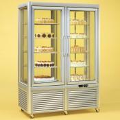 Tecfrigo Prisma 800RQS: Cake Display Fridge in Silver Finish with Wire Shelves and Rotating Glass Shelves