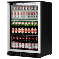 Tefcold BA10HAL: 124Ltr Single Door Back Bar Beer Cooler with LED Lighting - Black with Silver Aluminium Door