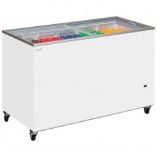 Tefcold IC500SC: 1.5m Sliding Flat Glass Lid Chest Freezer - 491Ltr