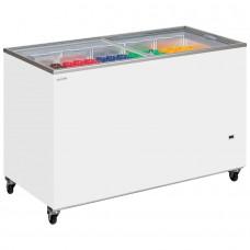 Tefcold IC500SC: 1.5m Sliding Flat Glass Lid Chest Freezer - 491Ltr