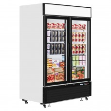 Interlevin LGF5000: LOW-ENERGY Double Glass Door Display Freezer with LED Lighting - 1108Ltr