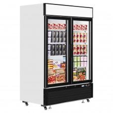 Interlevin LGF5000: LOW-ENERGY Double Glass Door Display Freezer with LED Lighting - 1108Ltr