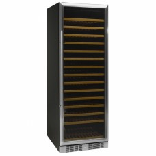 Tefcold TFW375S: Black Wine Cooler with Stainless Steel Door Frame (Up to 166 bottles)