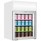 Tefcold UF100GCP: 116Ltr Countertop Glass Door Display Freezer with Canopy