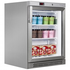 Tefcold UF200GS: 129Ltr Undercounter Glass Door Display Freezer - Stainless Steel