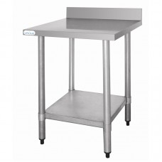 Vogue T379: 0.6m Chefs Steel Wall Table with Upstand