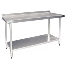 Vogue T381: 1.2m Chefs Steel Wall Table with Upstand