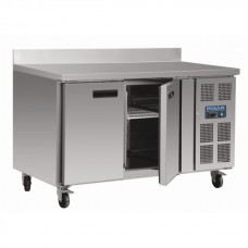 Polar DL916: Polar 2 door freezer food preparation counter with side mounted condenser and upstand. With extended 2 year full onsite warranty