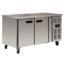 Polar G377: Slimline 2 Door Steel Refrigerated Food Preparation Counter with side mounted condenser