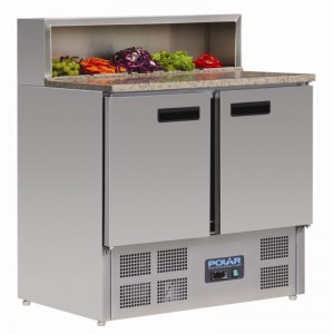 Polar G603: 2 door marble Top Pizza Preparation Counter with Marble Top Section