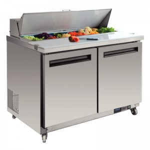 Polar GD882: 2 Door Refrigerated Preparation Bench in Stainless Steel
