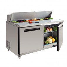 Polar GD883: JUMBO 2 Door Refrigerated Preparation Bench in Stainless Steel