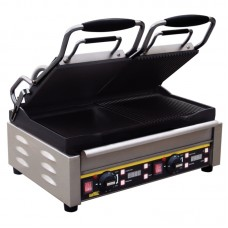 Buffalo L555: Double Contact Grill - Half Ribbed & Half Smooth Cooking Plates